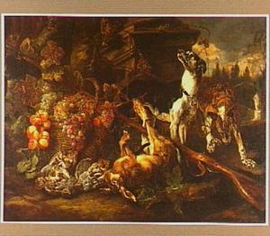 Twee honden bij een buit van drie patrijzen en een haas; links een mand met vruchten en midden boven een kat