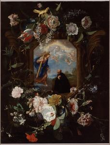 Guirlande van bloemen rond een stenen cartouche met het visioen van de heilige Ignatius van Loyola
