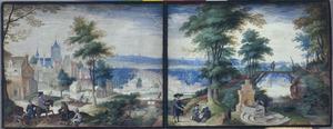 Panoramisch heuvellandschap met figuren, op de achtergrond de stad Antwerpen