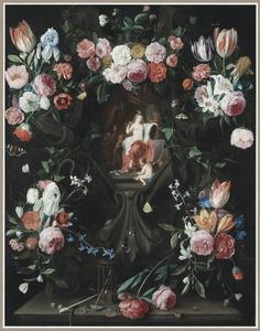 Schikking van bloemen rond een stenen cartouche met een vanitasvoorstelling