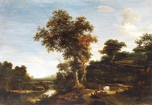 Heuvellandschap met rustend vee bij een rivier