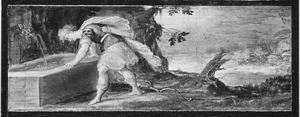 Narcissus aanschouwt zijn eigen spiegelbeeld in de bron