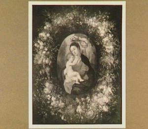 Madonna met Kind en engelen omringd door een krans van vruchten