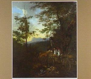Zuidelijk landschap met jagers en jachtbuit