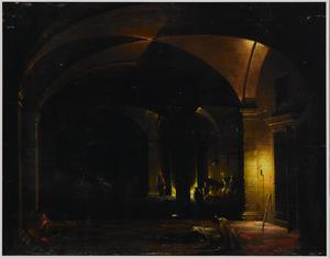 Interieur van een kerker met de bevrijding van de H. Petrus