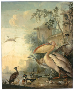 Waterkant met vogels