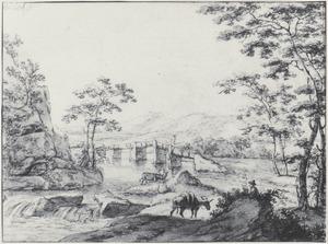 Brug in de buurt van Tivoli met een man en zijn ezel