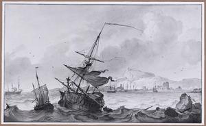 Het wegslepen van een gehavend schip bij  een rotskust met haven