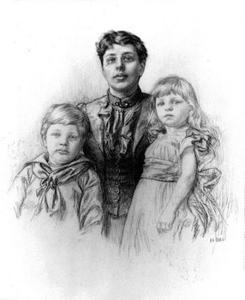 Portret van Aleida Maria Tutein Nolthenius (1855-1910) met haar kinderen Paul (1884-?) en Elisabeth Maria Tutein Nolthenius  (1886-?)