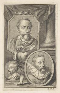 Portretten van Frans Snijders (1579-1657), Jan Brueghel (1568-1625) en Cornelis Schut I (1597-1655)