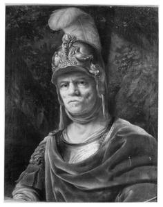 Portret van een man in harnas en met helm als de god Mars