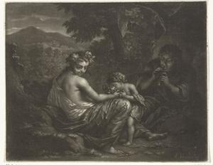 Fluitspelende man met vrouw en kind in een arcadisch landschap