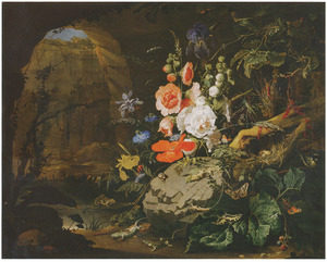 Stilleven met bloemen, insecten, kikkers en hagedissen bij een poel in een grot