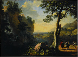 Zuidelijk landschap met figuren op een zonovergoten pad bij een waterval (Tivoli?)