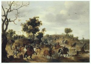 Heuvellandschap met ruitergevecht bij een galgenveld