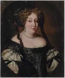 Portret van een vrouw met pijpenkrullen in het haar