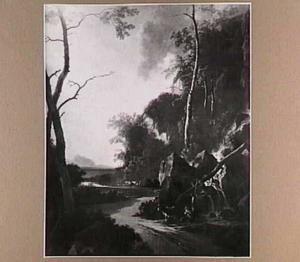 Landschap met een waterval en twee mannen die naar kreeft vissen