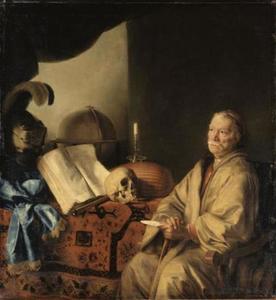 Vanitas allegorie met nadenkende geleerde
