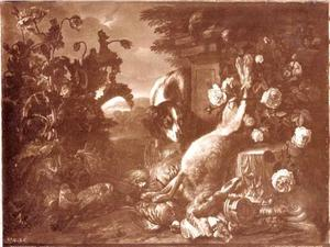 Jachtstilleven met jachthond en dode haas met doorkijk naar landschap