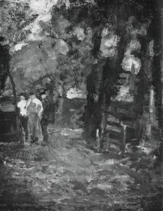 Three farm workers near a gateway