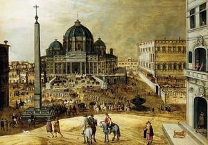 Gezicht op het Sint Pietersplein en de Sint Pieter in Rome