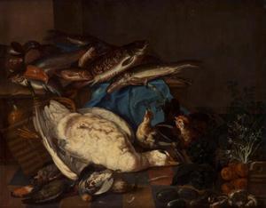 Stilleven van gans en vissen
