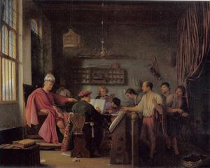 Interieur van een kantoor: de gelijkenis van de arbeiders in de wijngaard (Matteüs 20:1-16)
