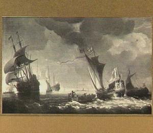 Statenjacht en andere schepen op bewogen water; links lost een fregat en saluutschot