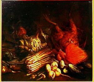 Stilleven met asperges en dode haan
