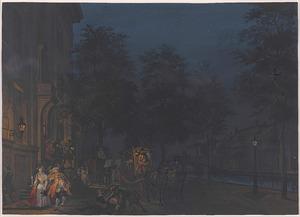 Vertrek na een vrolijke avondpartij in een groot grachtenhuis