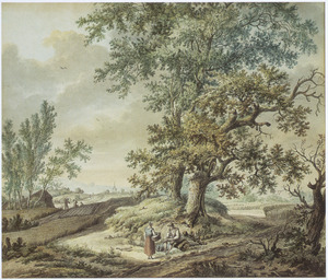 Heuvellandschap met rustende boer en boerin bij twee grote bomen