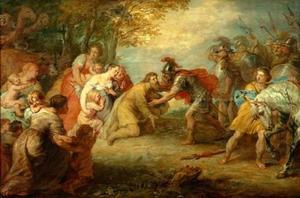 De verzoening van Jacob en Esau: Esau rent Jacob tegemoet en omhelst hem (Genesis 33:3-4)