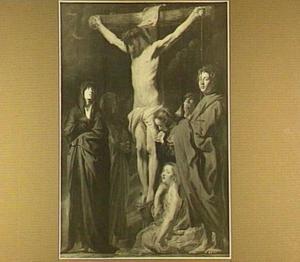 Christus aan het kruis met Maria, Johannes, Maria Magdalena en treurende omstanders