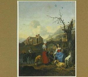 Zuidelijk landschap met herders, reizigers en een spinnende vrouw aan de oever van een rivier