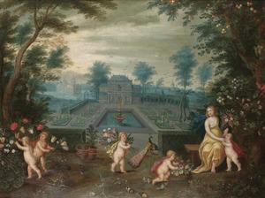 Landschap met een landhuis in een tuin; allegorie op het Voorjaar