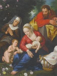 De H. Familie met de H. Elizabeth en Johannes de Doper als kind in een boslandschap