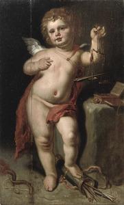 Allegorie op de liefde: Cupido met een geldkist en een goudschaaltje