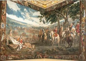 Slag bij Blindheim (Blenheim) waar John Churchill. eerste Duke of Marlborough, de overgave van Maarschalk Tallard aanvaardt op 13 augustus 1704
