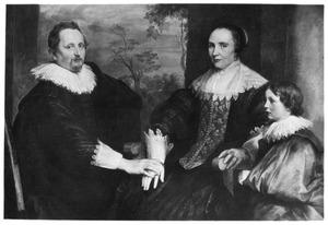 Portret van Sebastiaen Leerse (?-?) met zijn tweede vrouw Barbara van den Bogaerde (?-?) en zijn jongste zoon Johannes Baptista (1623-1673)