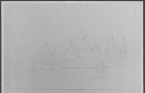 Voor- en rechterzijde van kasteel Buren
