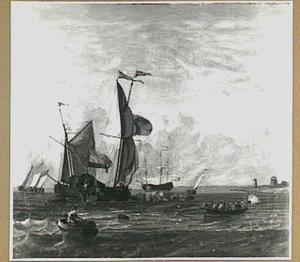 Hollands jacht lost een saluut schot; rechts op de oever twee molens