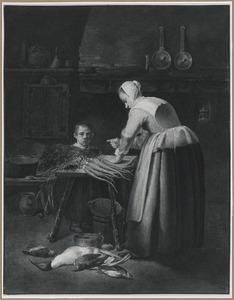 Keukenmeid en jongen in een keukeninterieur