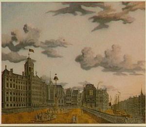 Amsterdam, het dansen om de vrijheidsboom op de Dam in 17 juni 1795