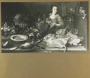 Keukenstuk met in de achtergrond een doorkijk naar een keuken