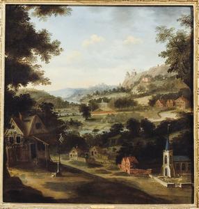 Landschap met dorpsstraat,een landhuis en een fort op een berg