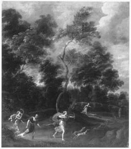 Boslandschap met Diana en haar metgezellinnen tijdens de hertenjacht