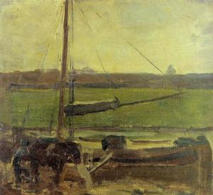 Polder with moored boat near Amsterdam II