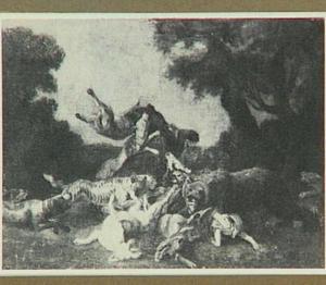 Jachtscène met beren, panter en honden