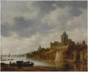 Rivierlandschap met gezicht op het Valkhof te Nijmegen