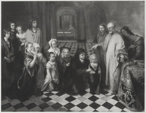 Petrus in het huis van Cornelius: de H. Geest daalt neer over Cornelius en zijn familie; zij worden gedoopt door Petrus (Handelingen 10:25)